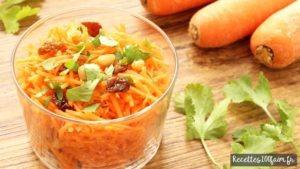 Recette salade carottes rapees orange raisins pignons