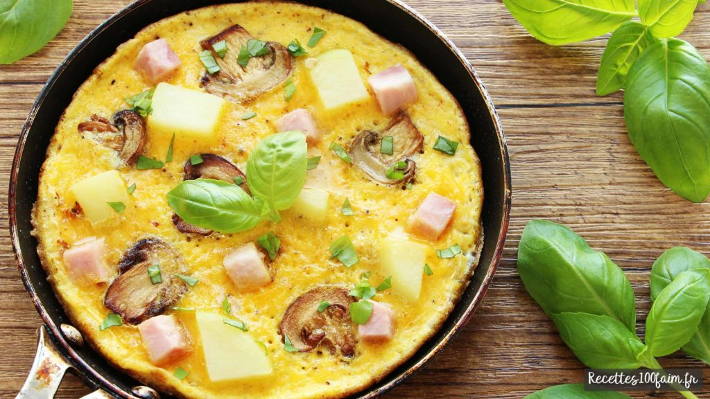 recette omelette pommes de terre champignon jambon recettes100faim. Black Bedroom Furniture Sets. Home Design Ideas