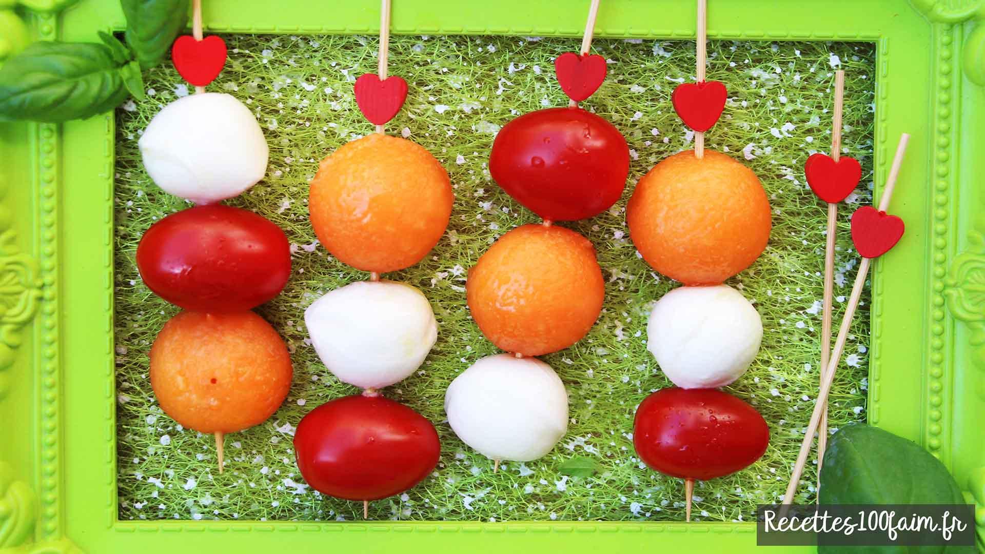 brochettes melon tomate mozzarella