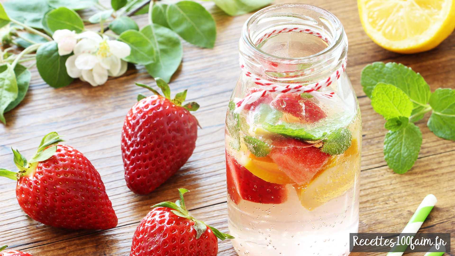 Eau fraiche citron et fraise