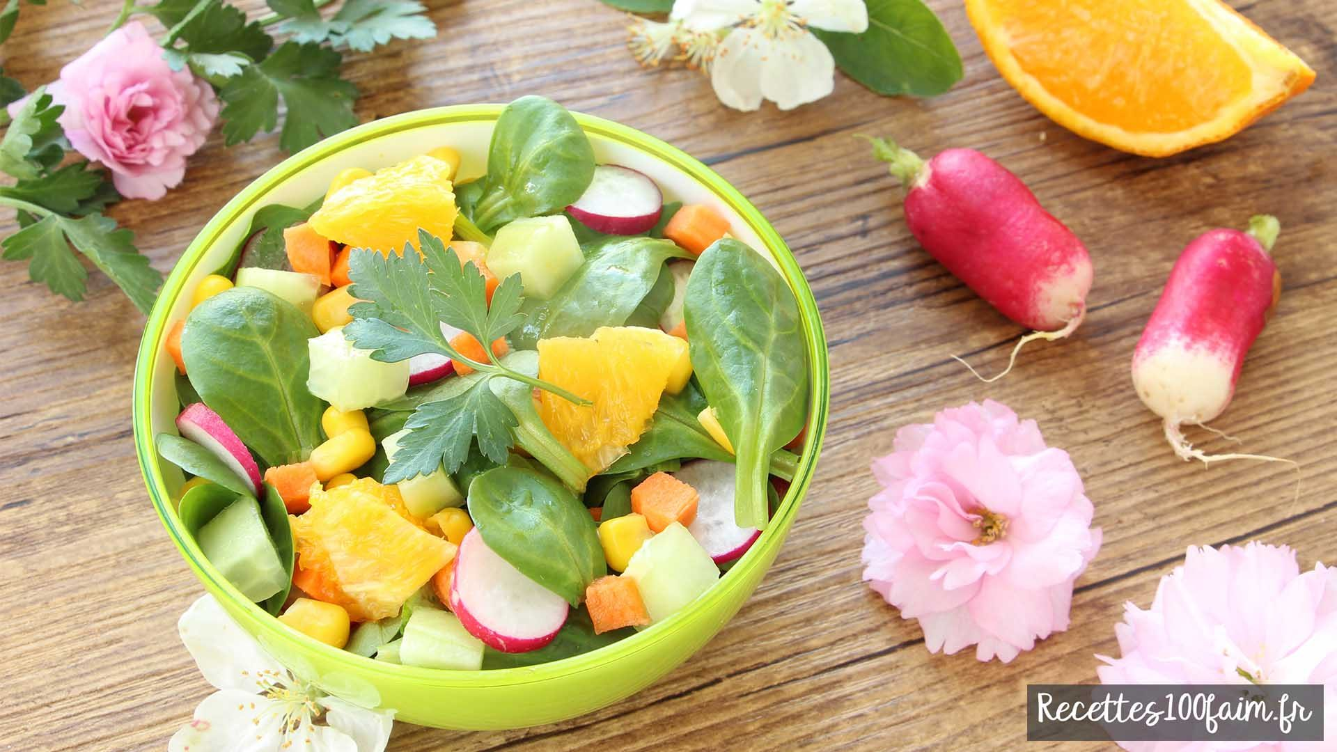 salade radis concombre orange carotte