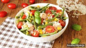 Salade gourmande de riz thon tomates mais haricots
