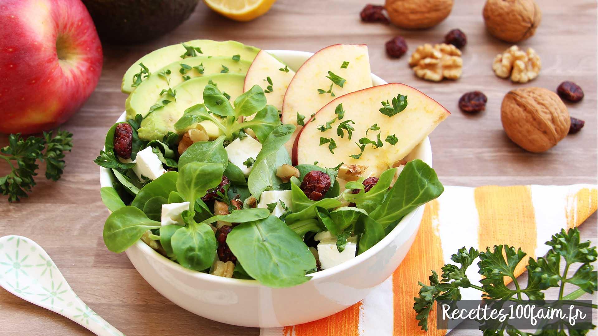 salade rapide et simple avocat pomme feta