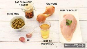 poulet oignon petits pois samoussas