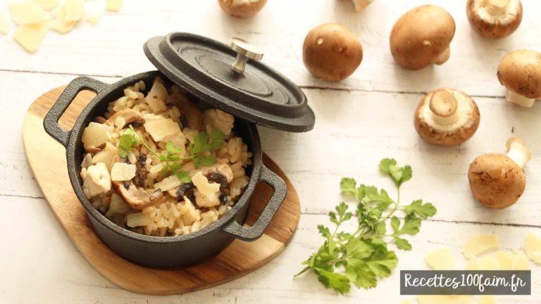 faire un risotto de poulet aux champignons