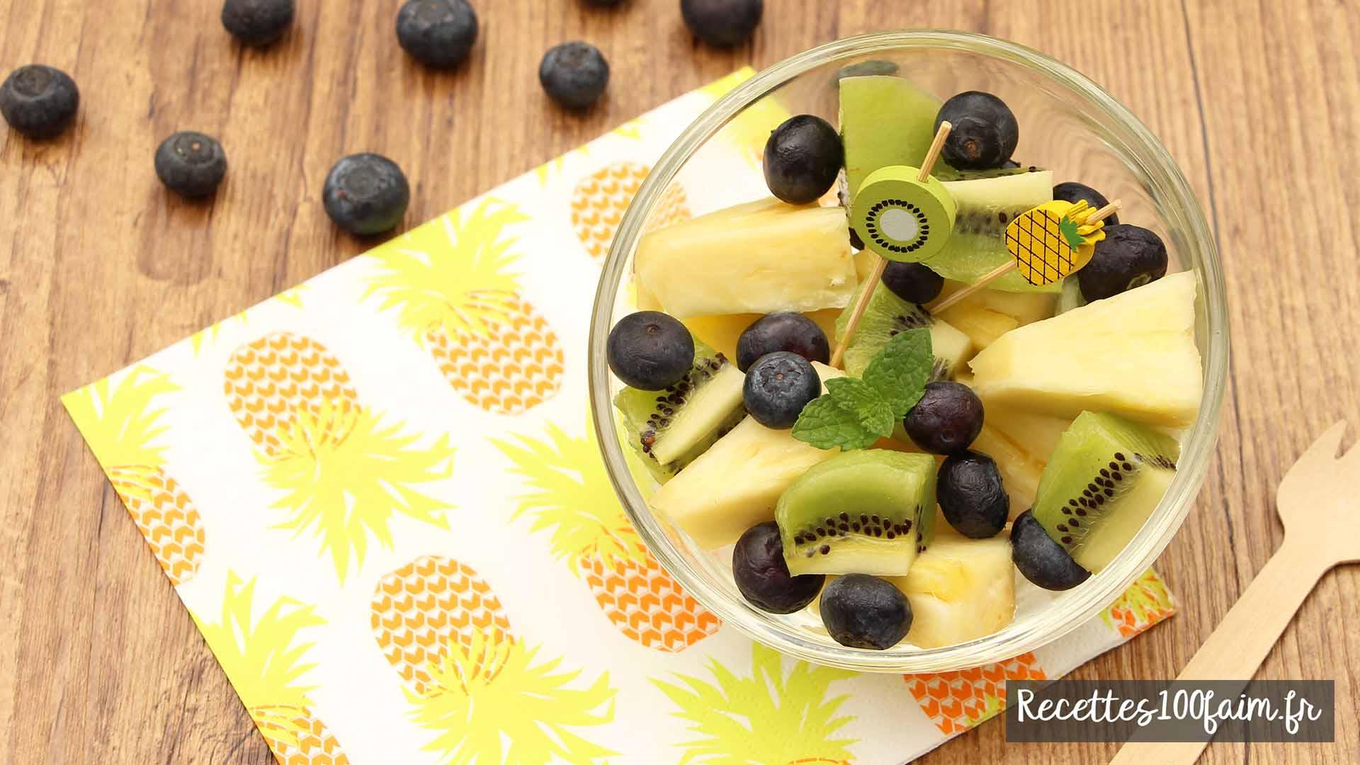 recette salade de fruits ananas myrtille kiwi