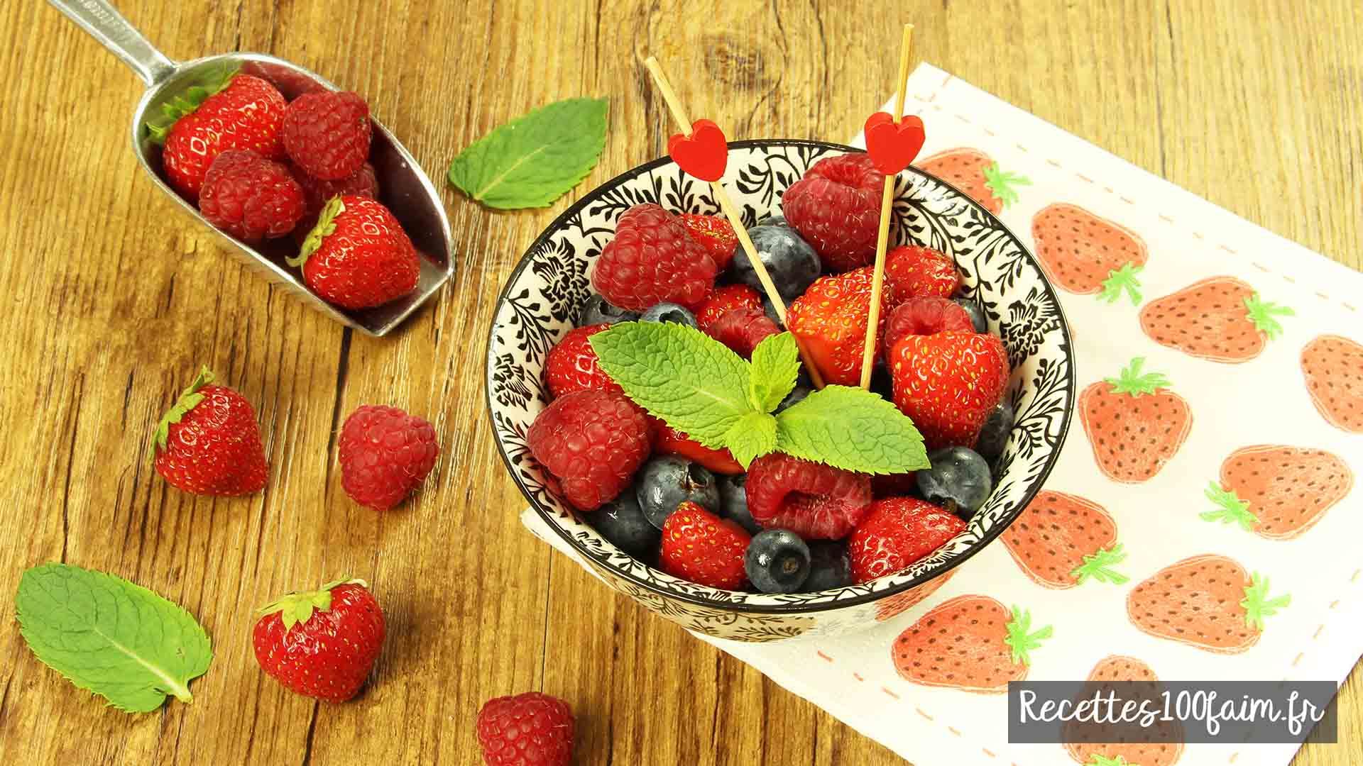 recette salade de fruits fraise framboise myrtille