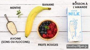 ingredients smoothie fruit rouge avoine banane