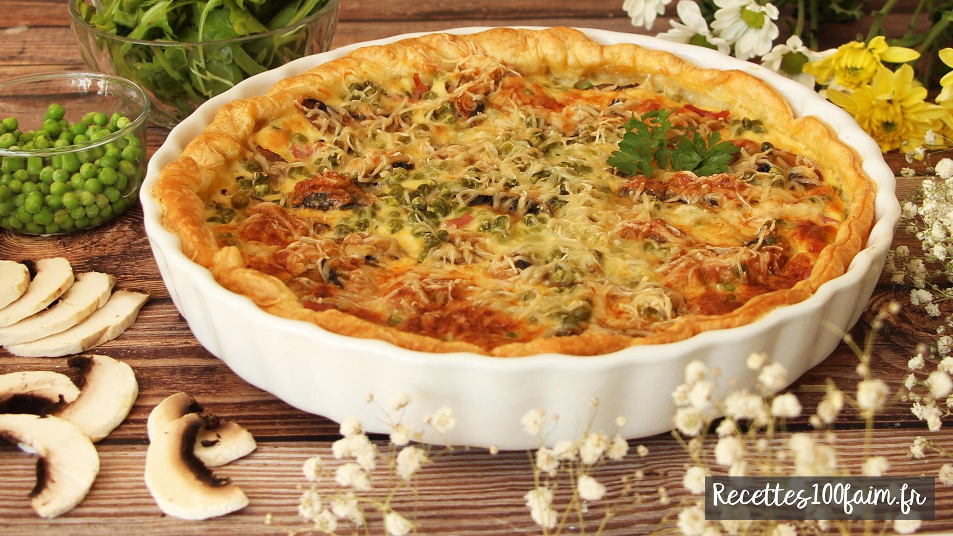 recette tarte jambon pois champignons