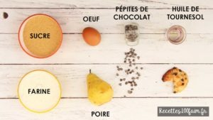 ingredients cookies poire chocolat
