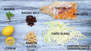 ingredients salade chou blanc bacon mimolette