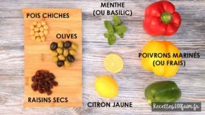 ingredients salade pois chiches thon