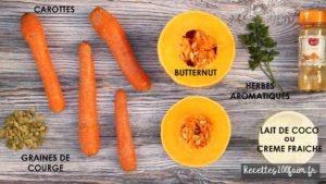recette ingredients soupe butternut carotte