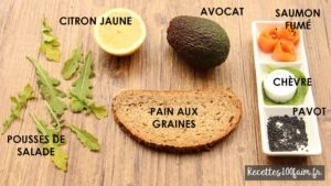 ingredients toast saumon avocat