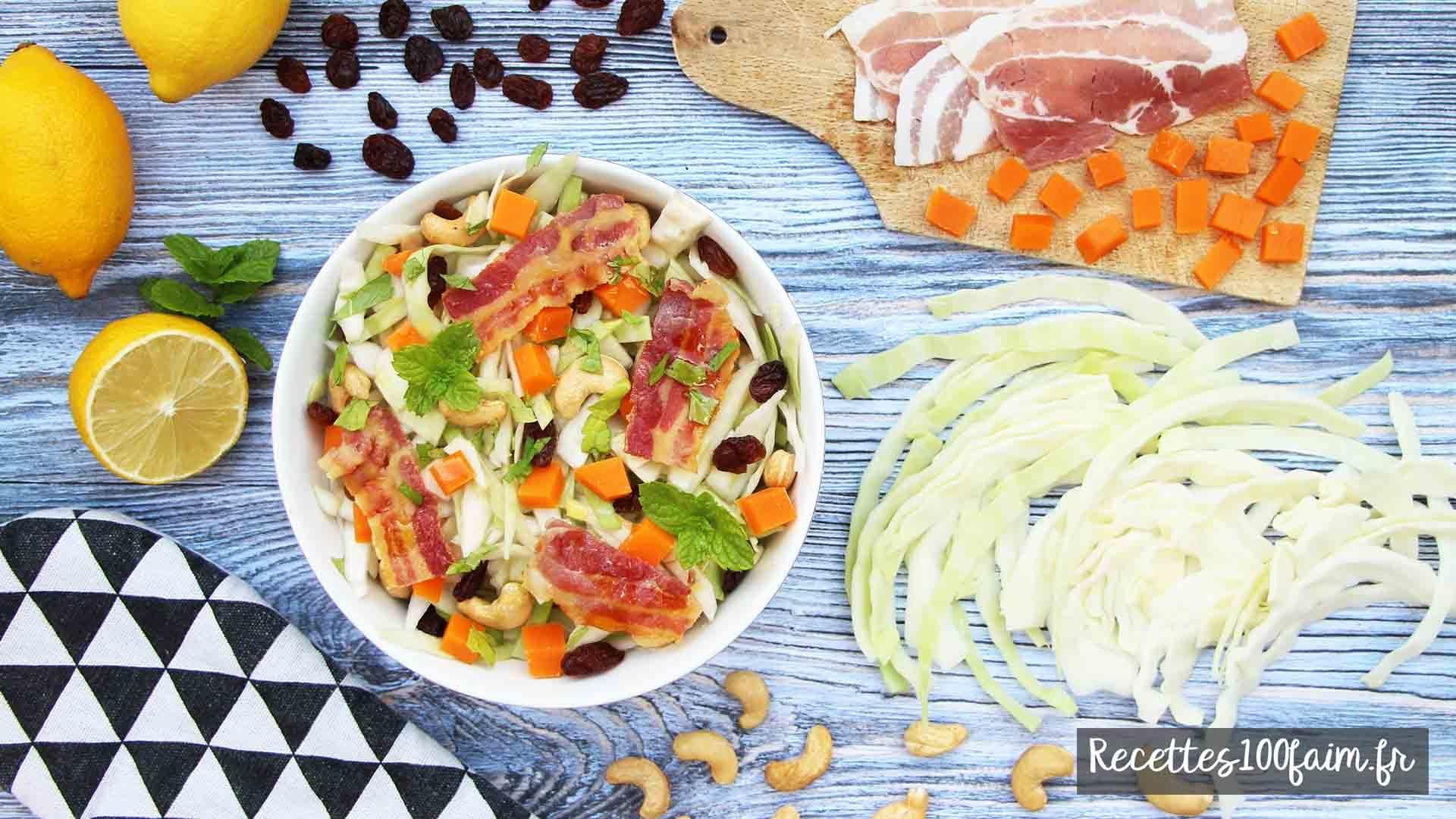 salade chou blanc mimolette bacon recette