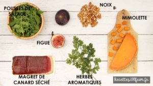 ingredients salade canard figue mimolette