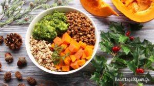 recette bowl lentille quinoa boulgour potimarron brocoli
