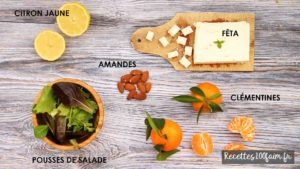 ingredients salade clementine feta amande