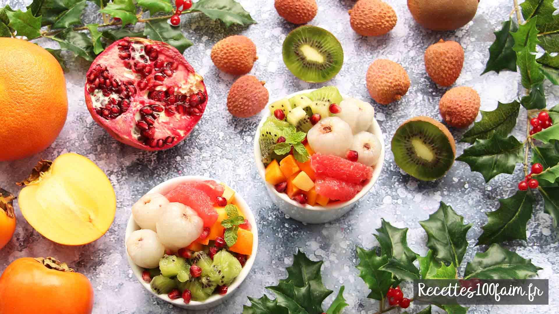 recette salade de fruits hiver kaki