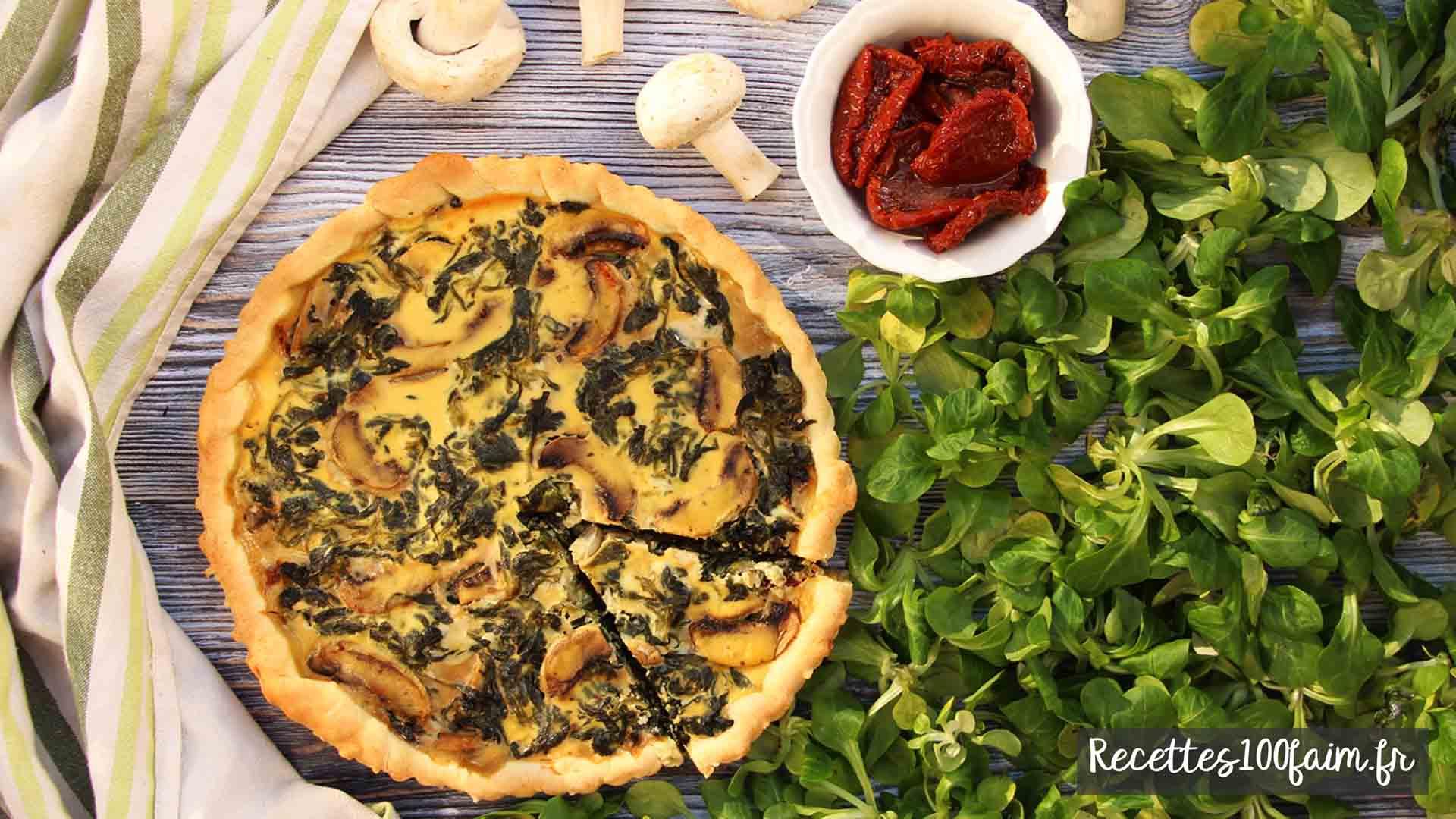 recette tarte mache champignon tomate sechee