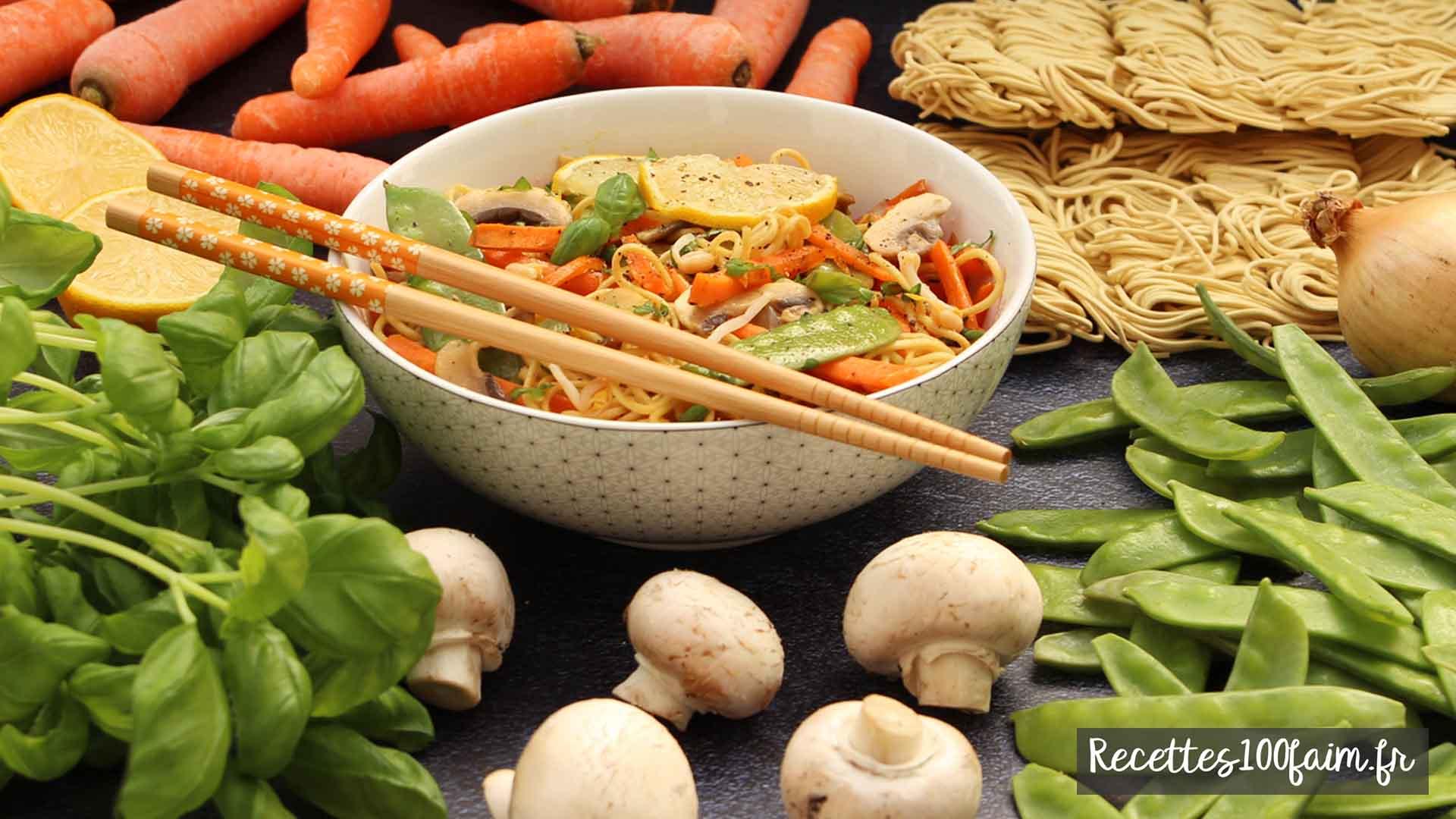 wok haricot mungo carotte champignon