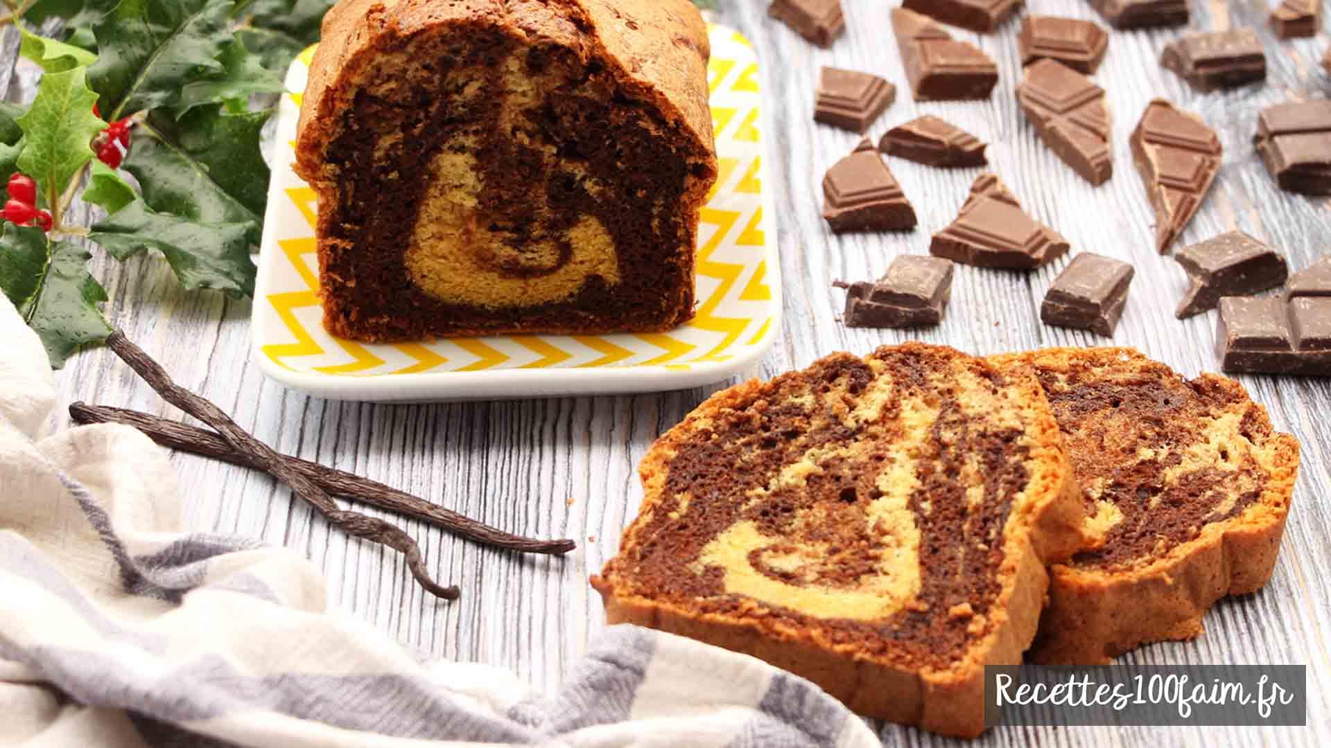 recette gateau marbré chocolat noir vanille
