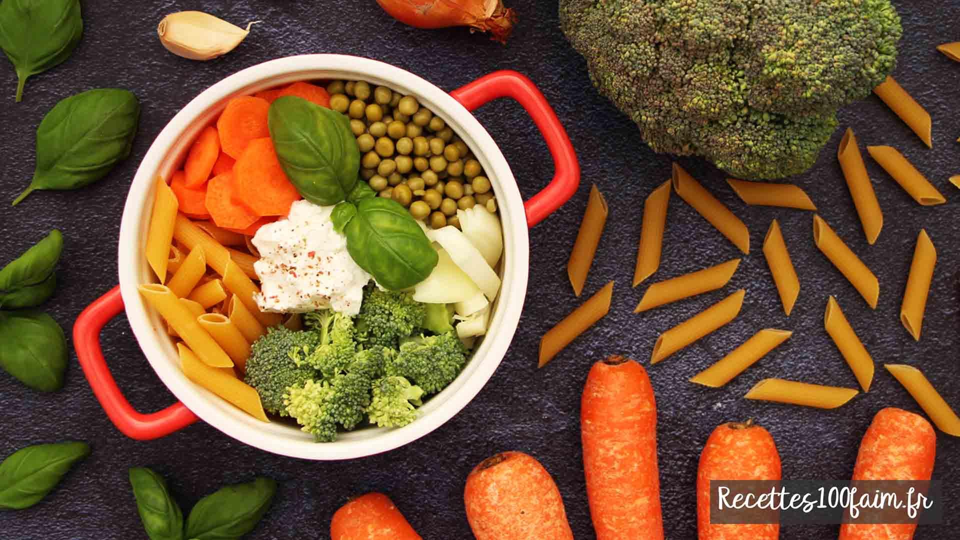 one pot pasta carotte brocoli petit pois