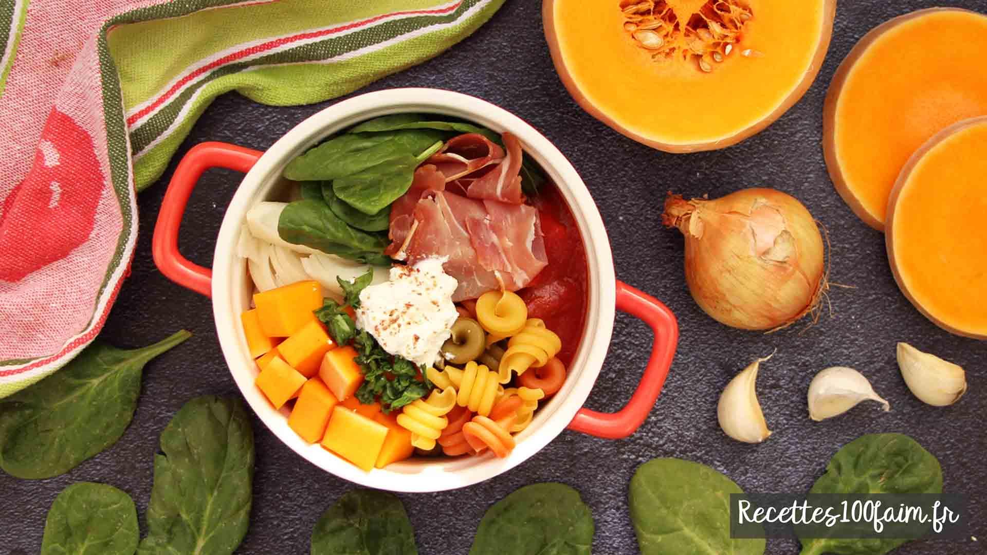 one pot pasta recette butternut epinard jambon