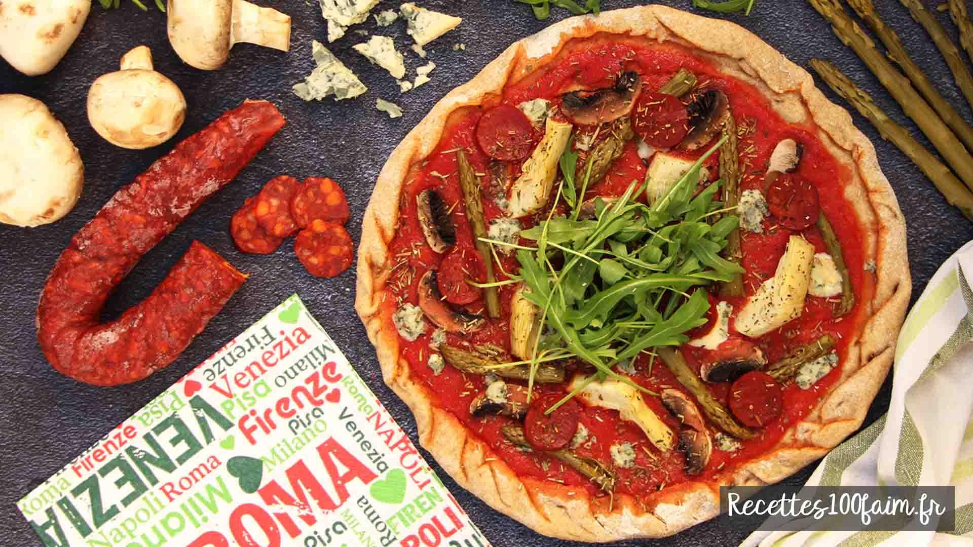 recette pizza artichaut asperge chorizo