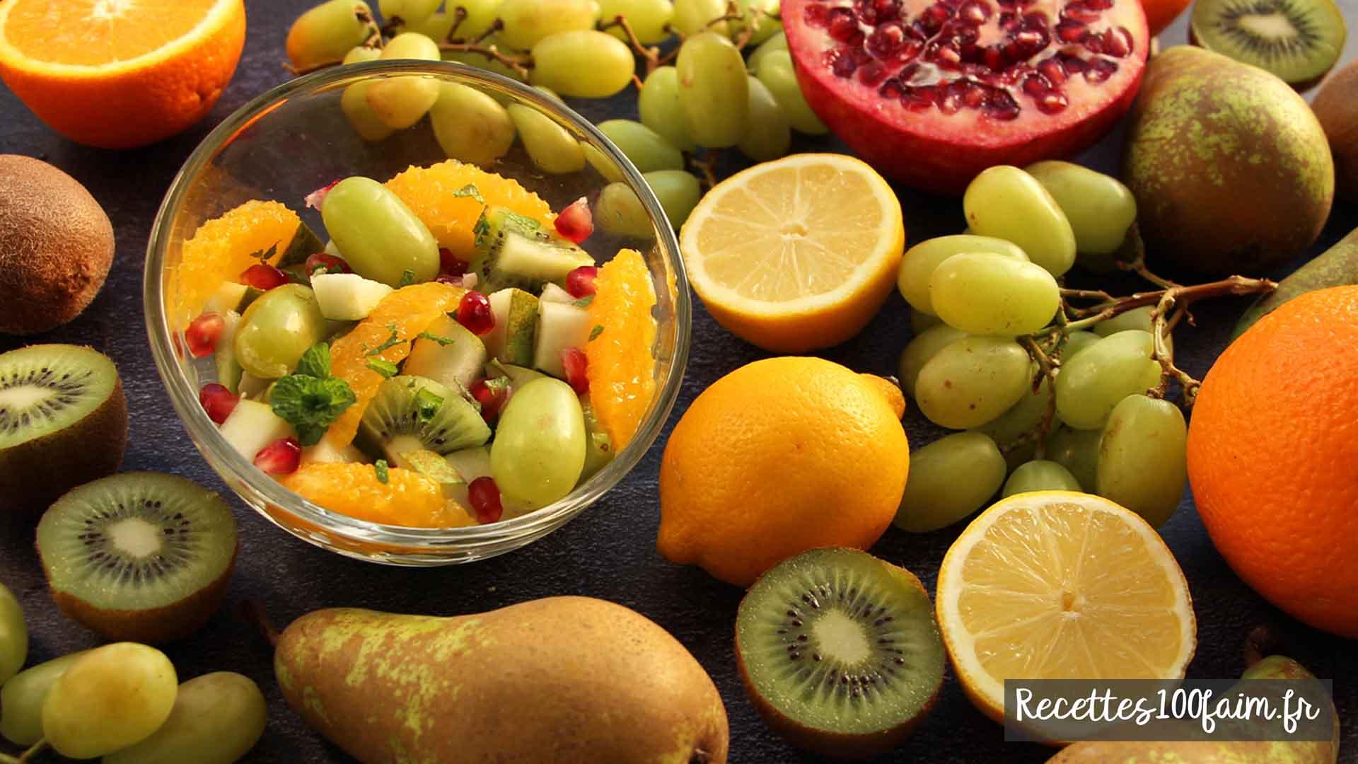 recette salade de fruits grenade kiwi poire raisin