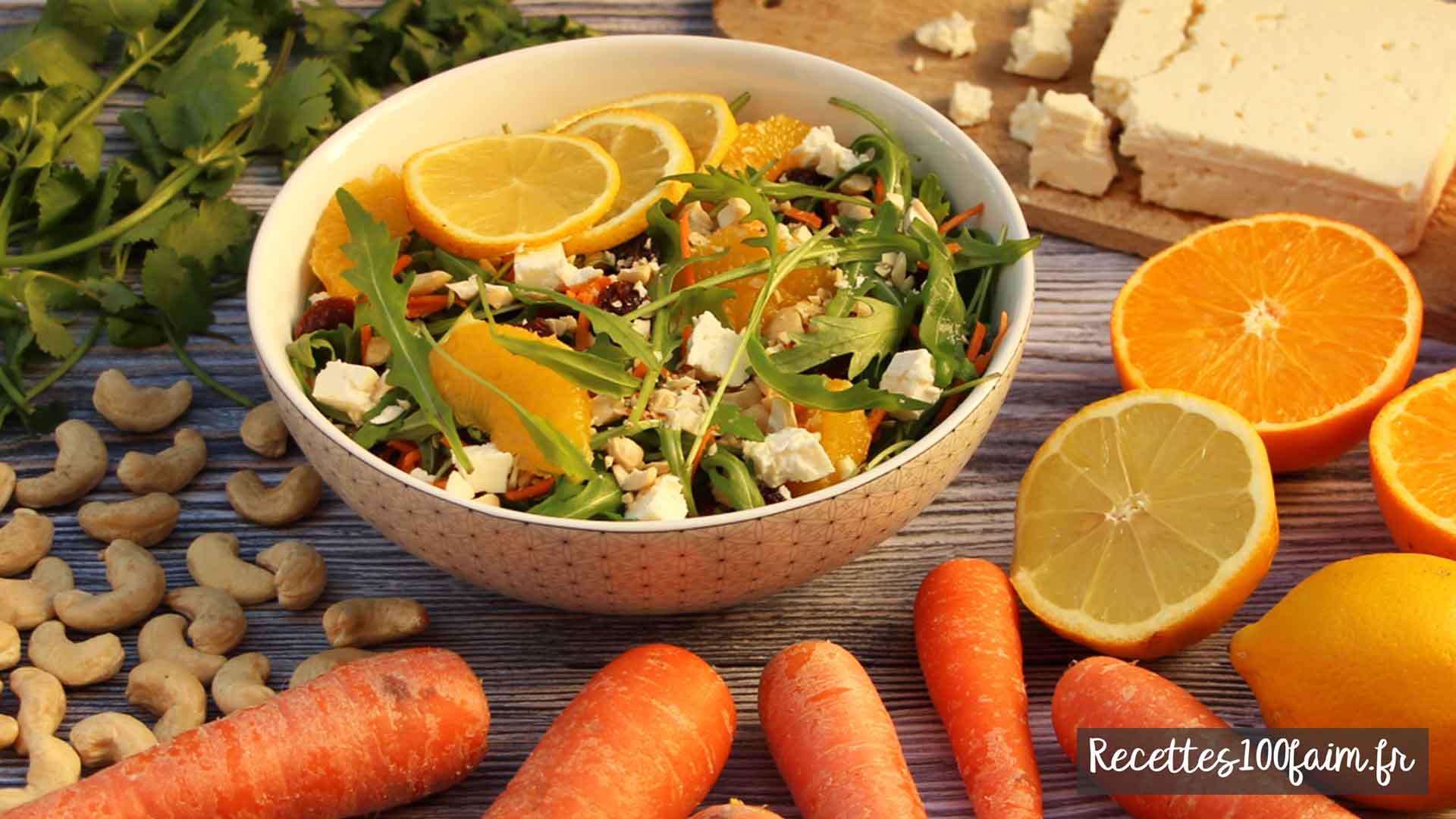 recette salade carotte cajou pousses