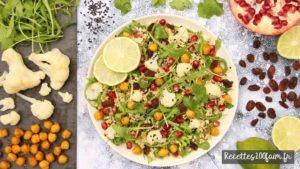 recette salade chou fleur grenade quinoa pois chiches