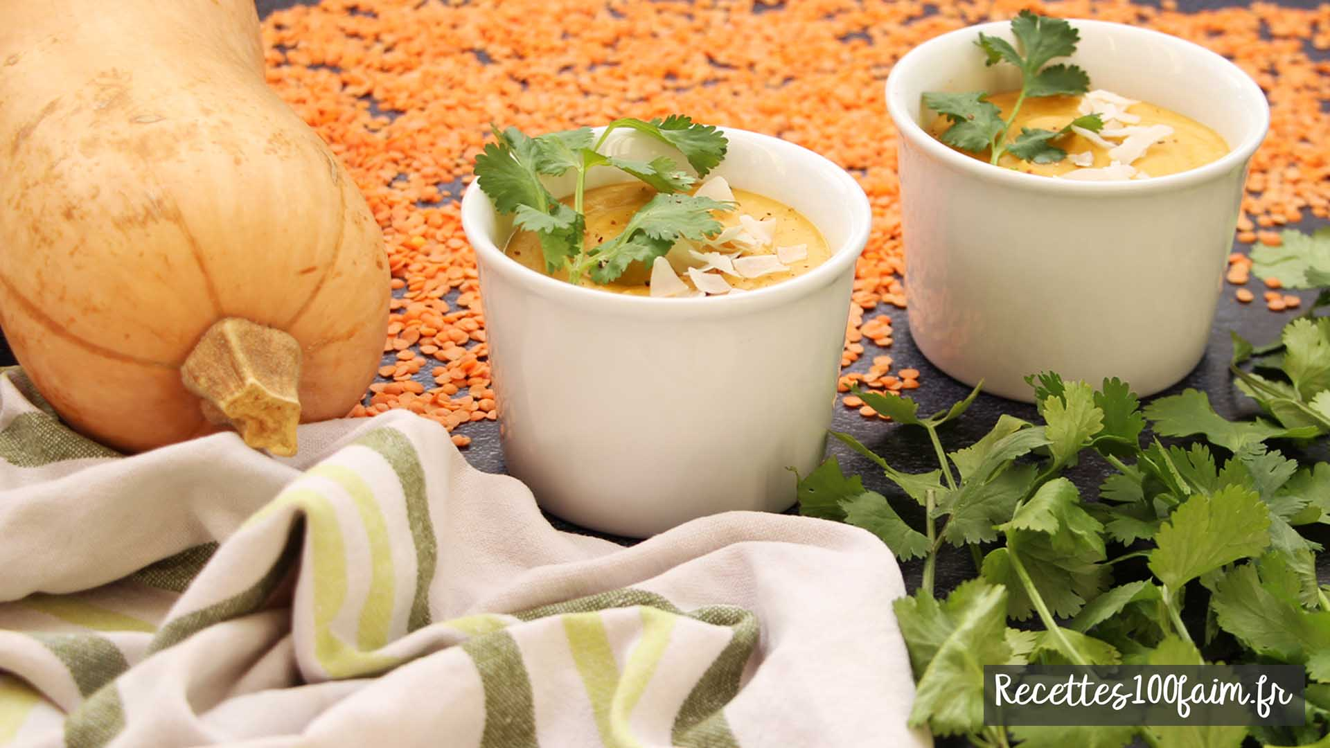 recette soupe butternut lentilles corail