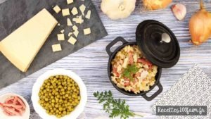 recette risotto bacon petit pois champignon