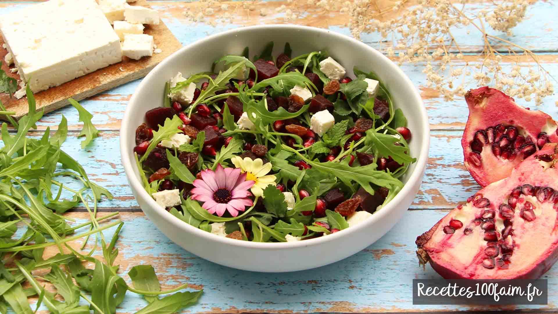 recette salade betterave grenade feta menthe