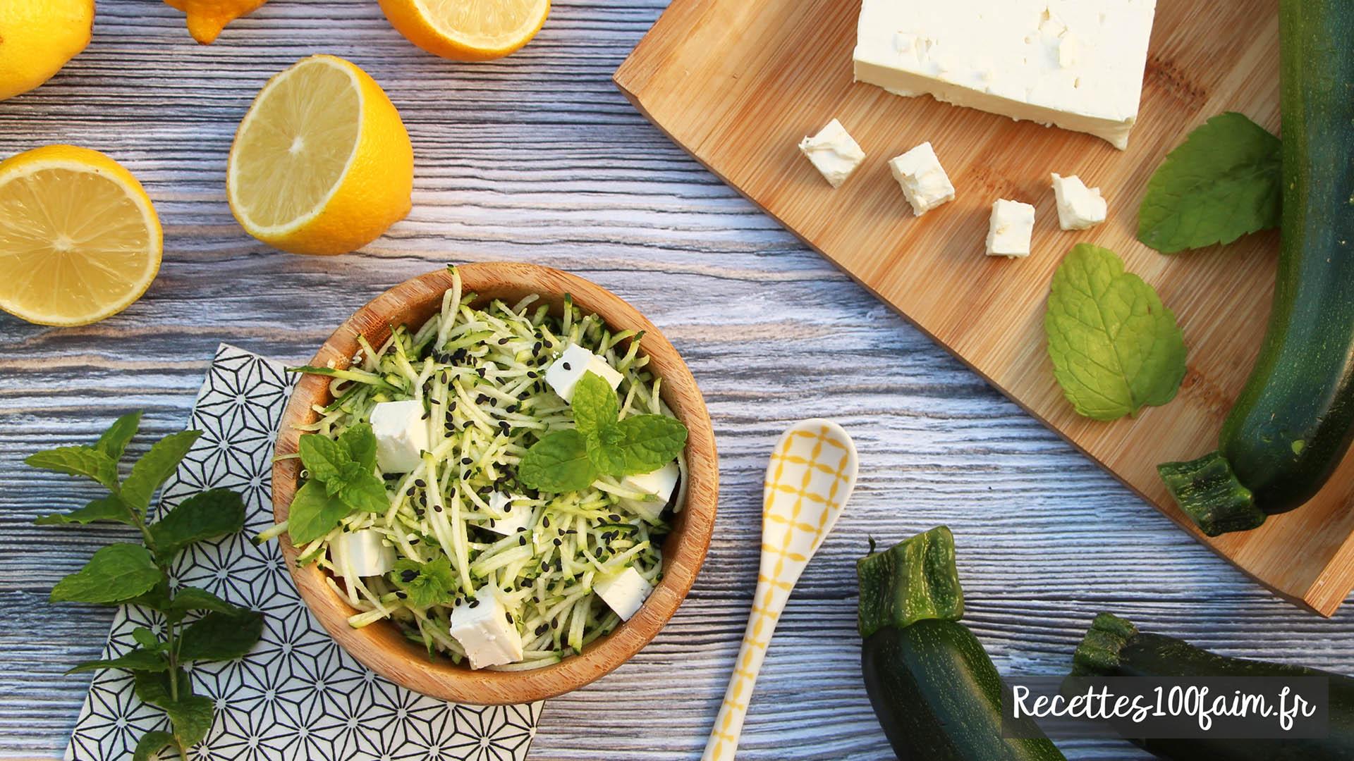 recette salade courgette feta menthe