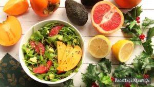 recette salade kaki lentille avocat pamplemousse