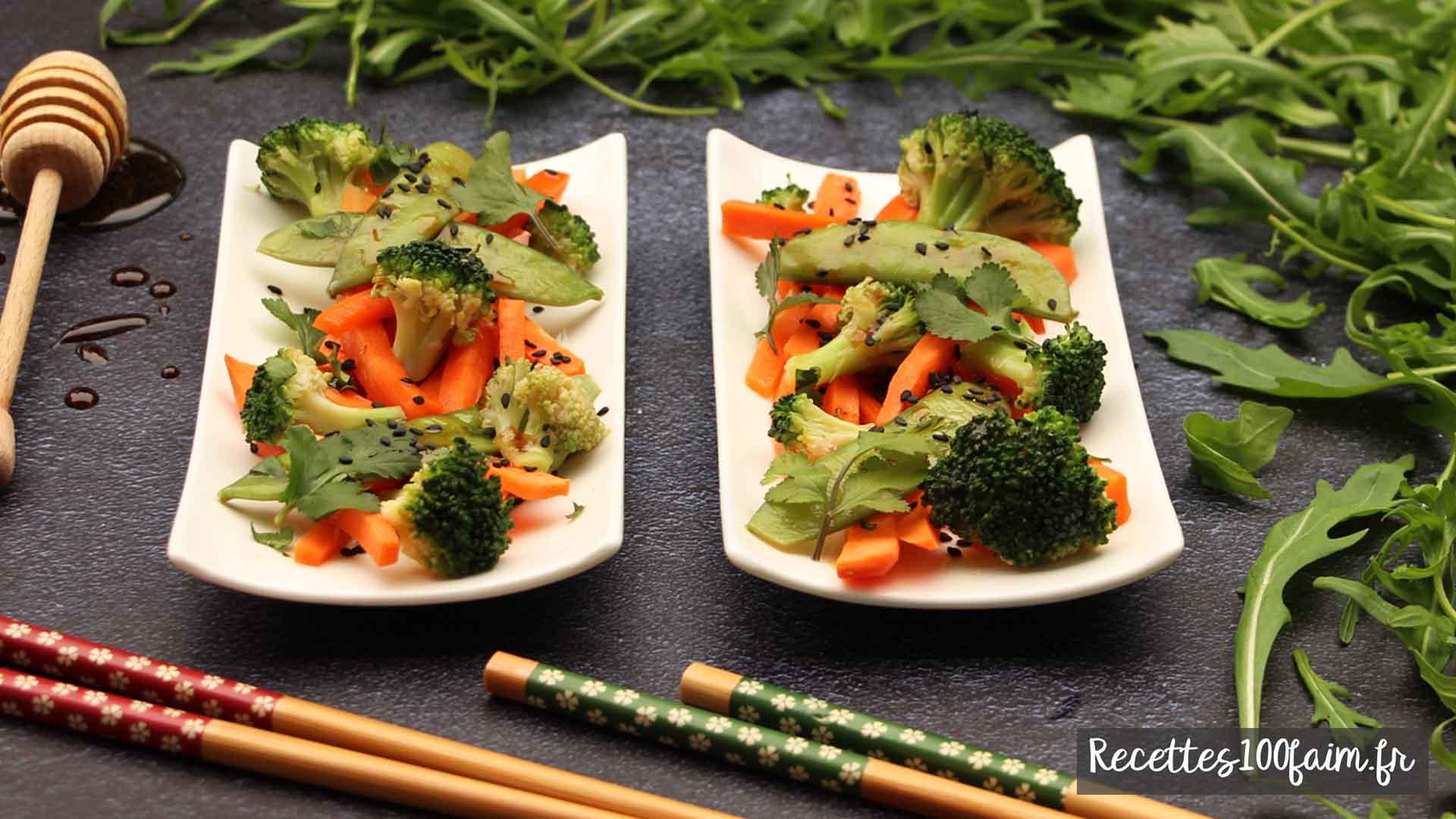 recette wok carotte brocoli pois gourmand
