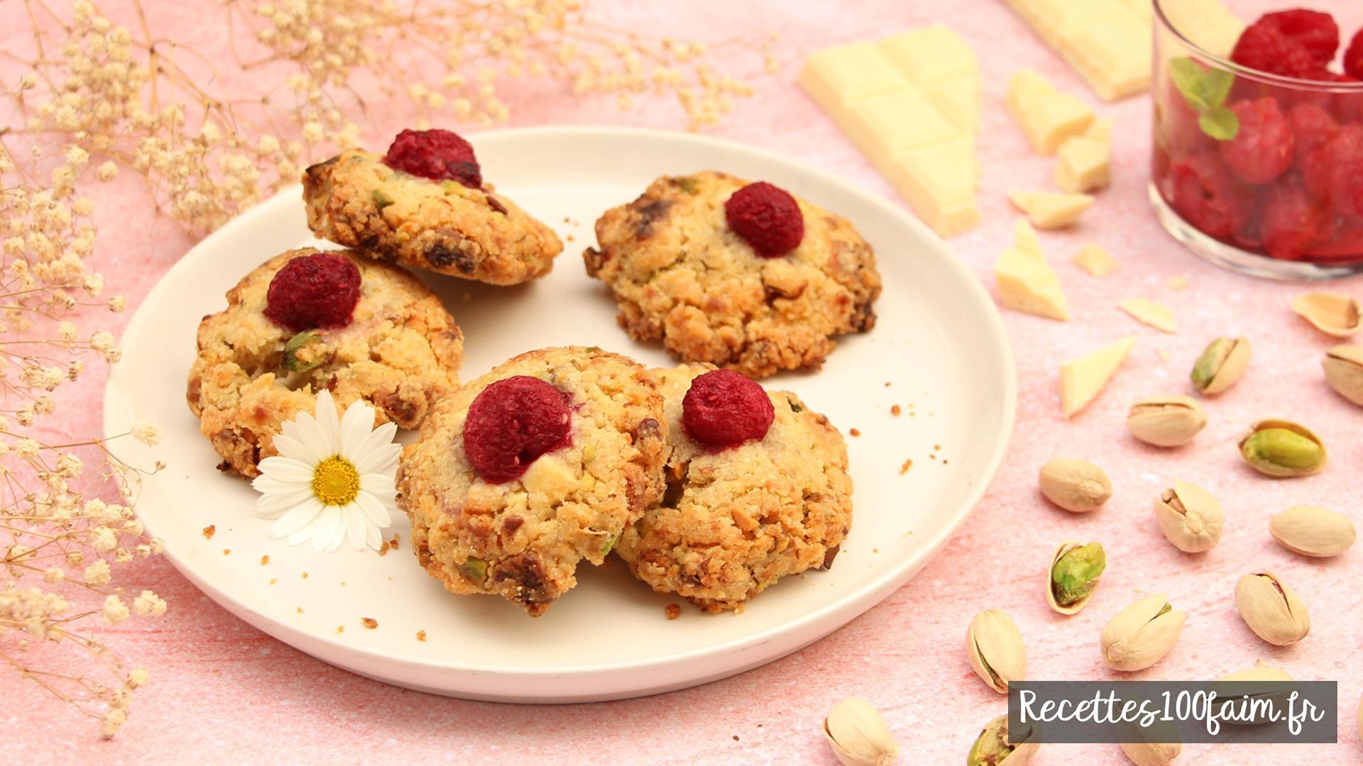 recette cookie pistache framboise chocolat blanc