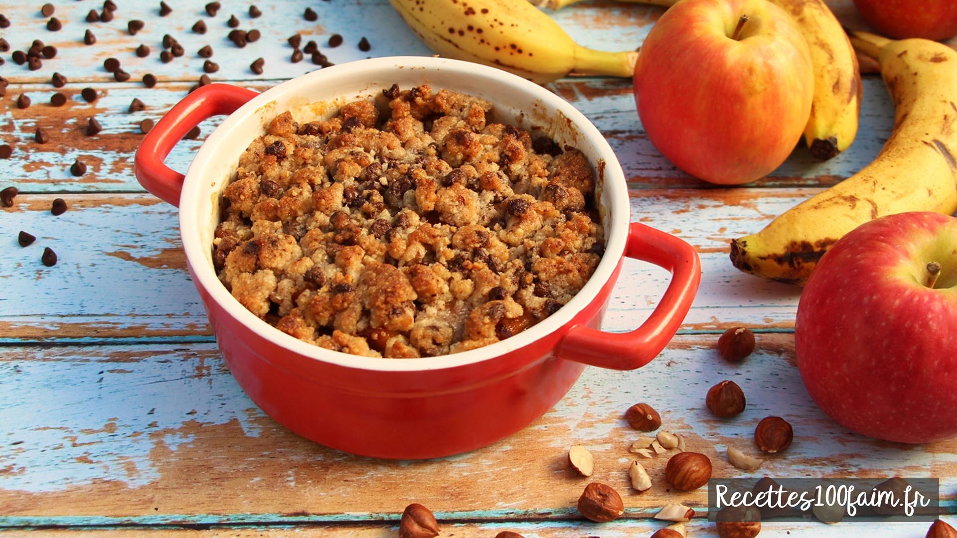recette crumble pomme banane chocolat noisette