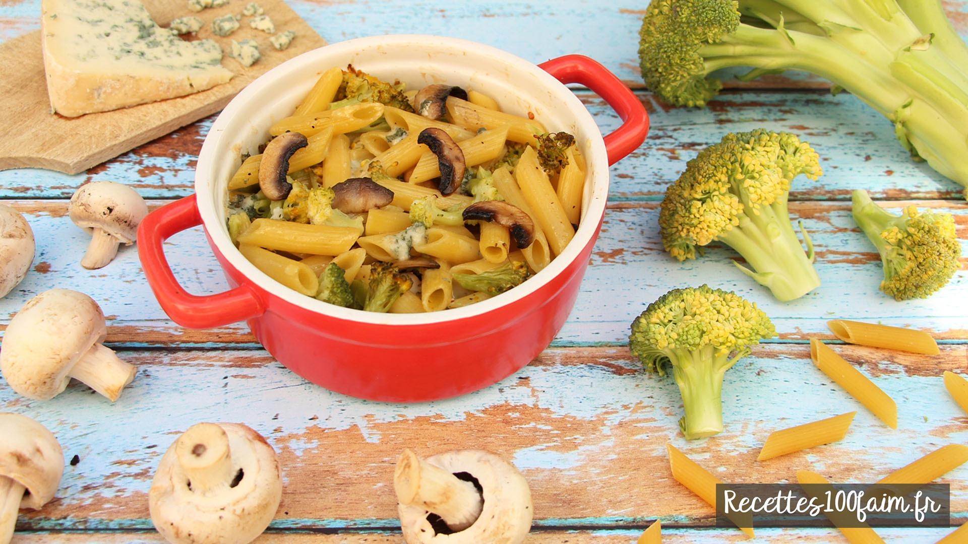 gratin pates brocoli champignon bleu