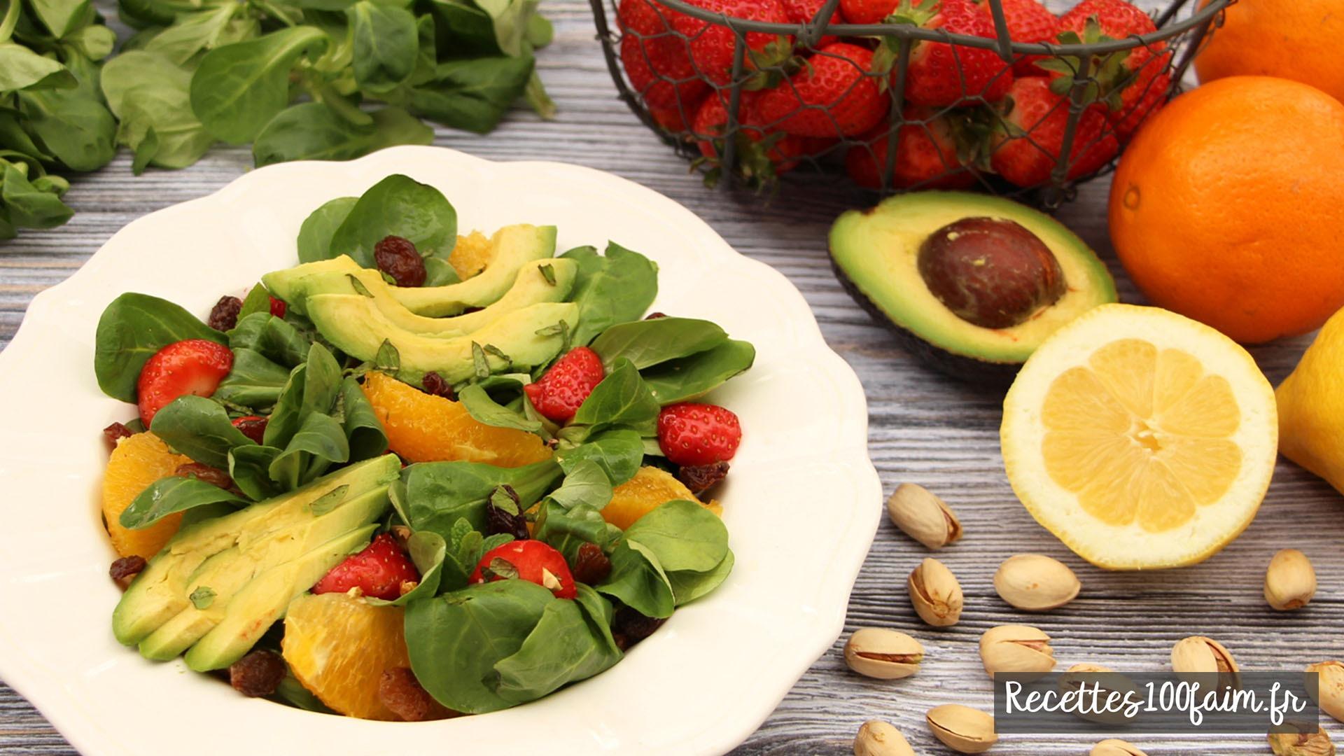 recette salade fraise avocat orange pistache