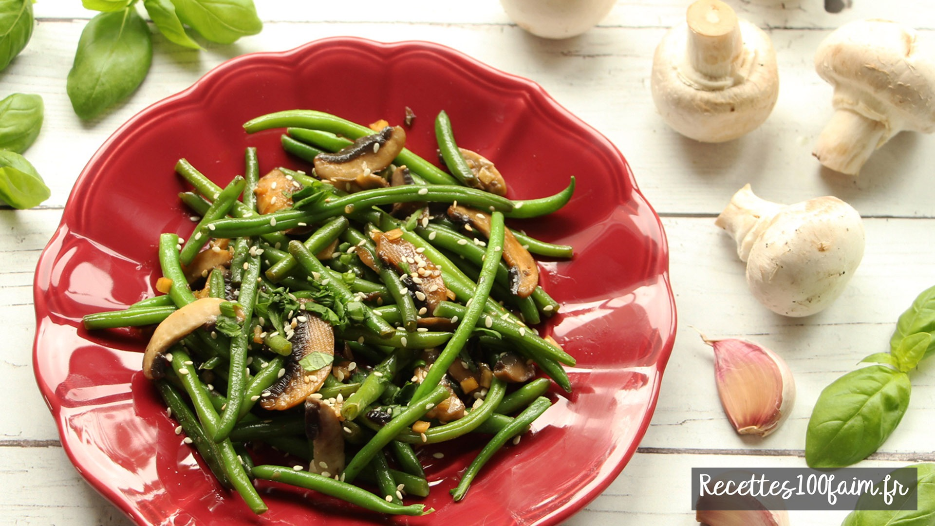recette poelee haricots verts champignon soja
