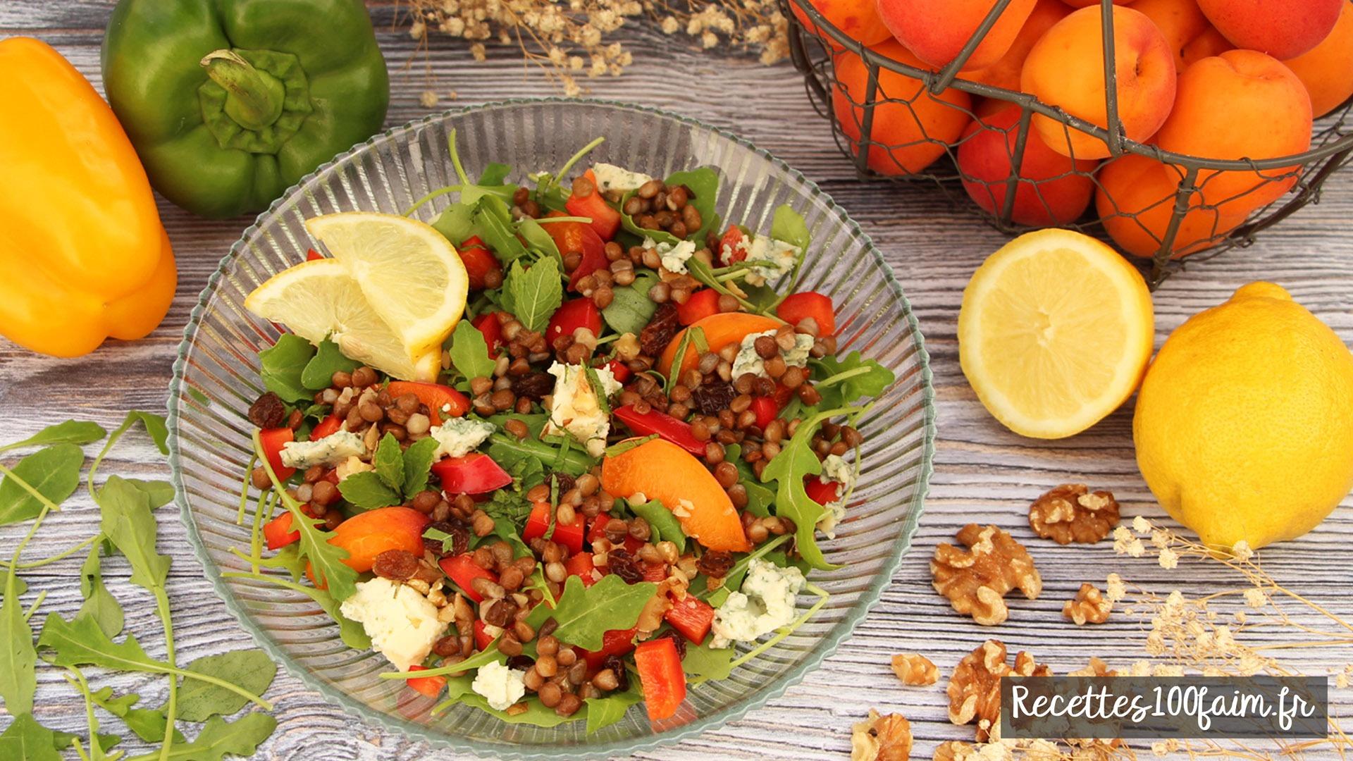 recette salade lentille abricot poivron