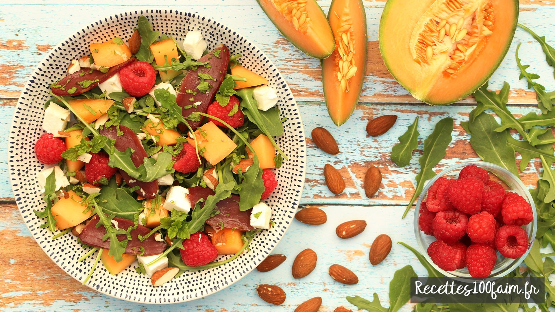 recette salade canard melon framboise