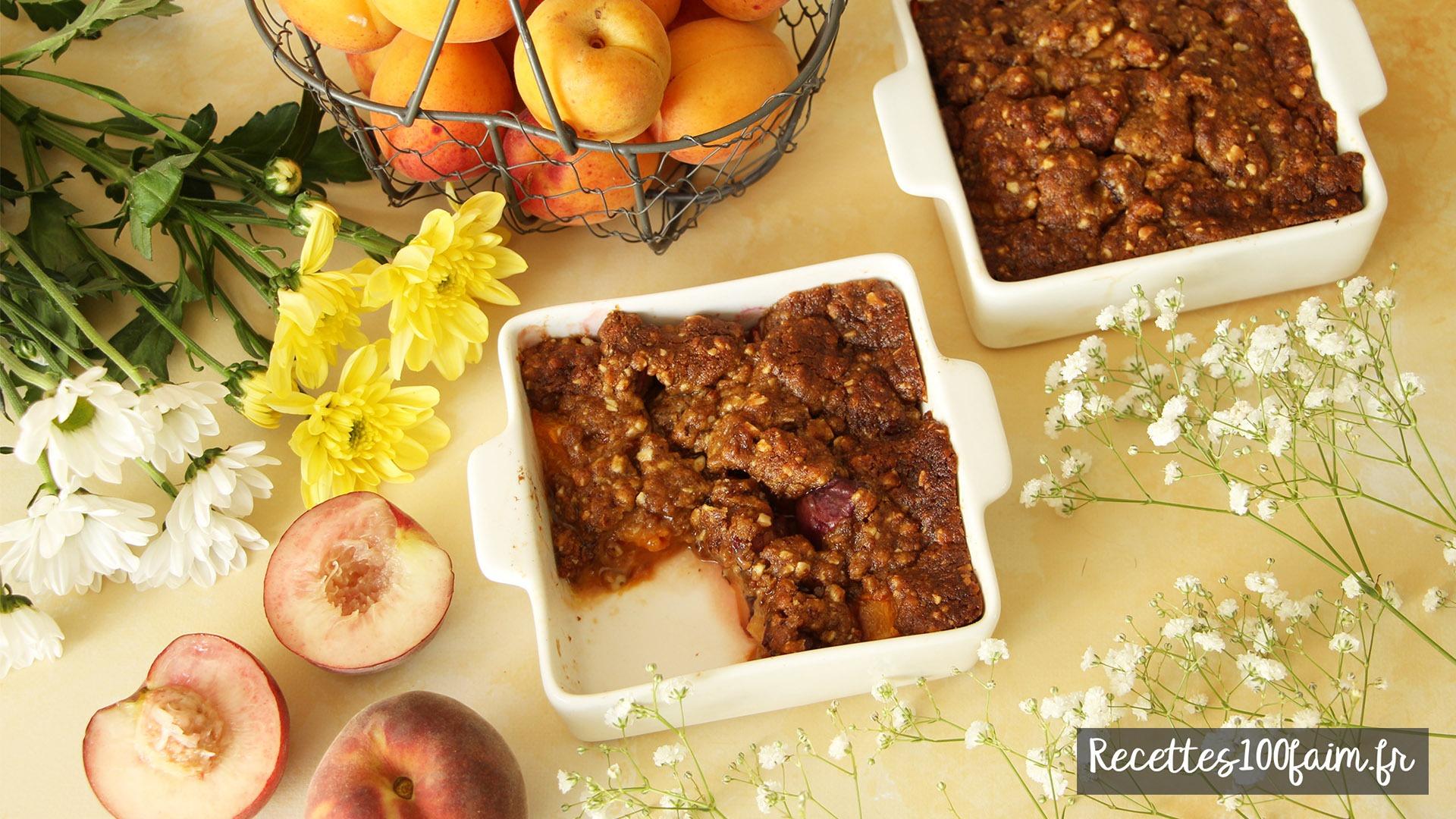 recette crumble peche abricot amande