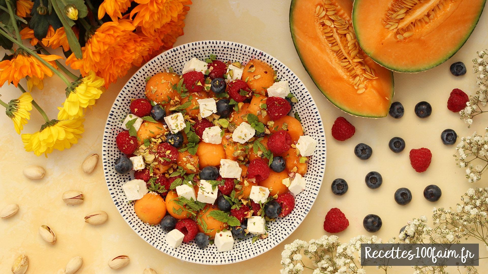 recette salade myrtille melon framboise