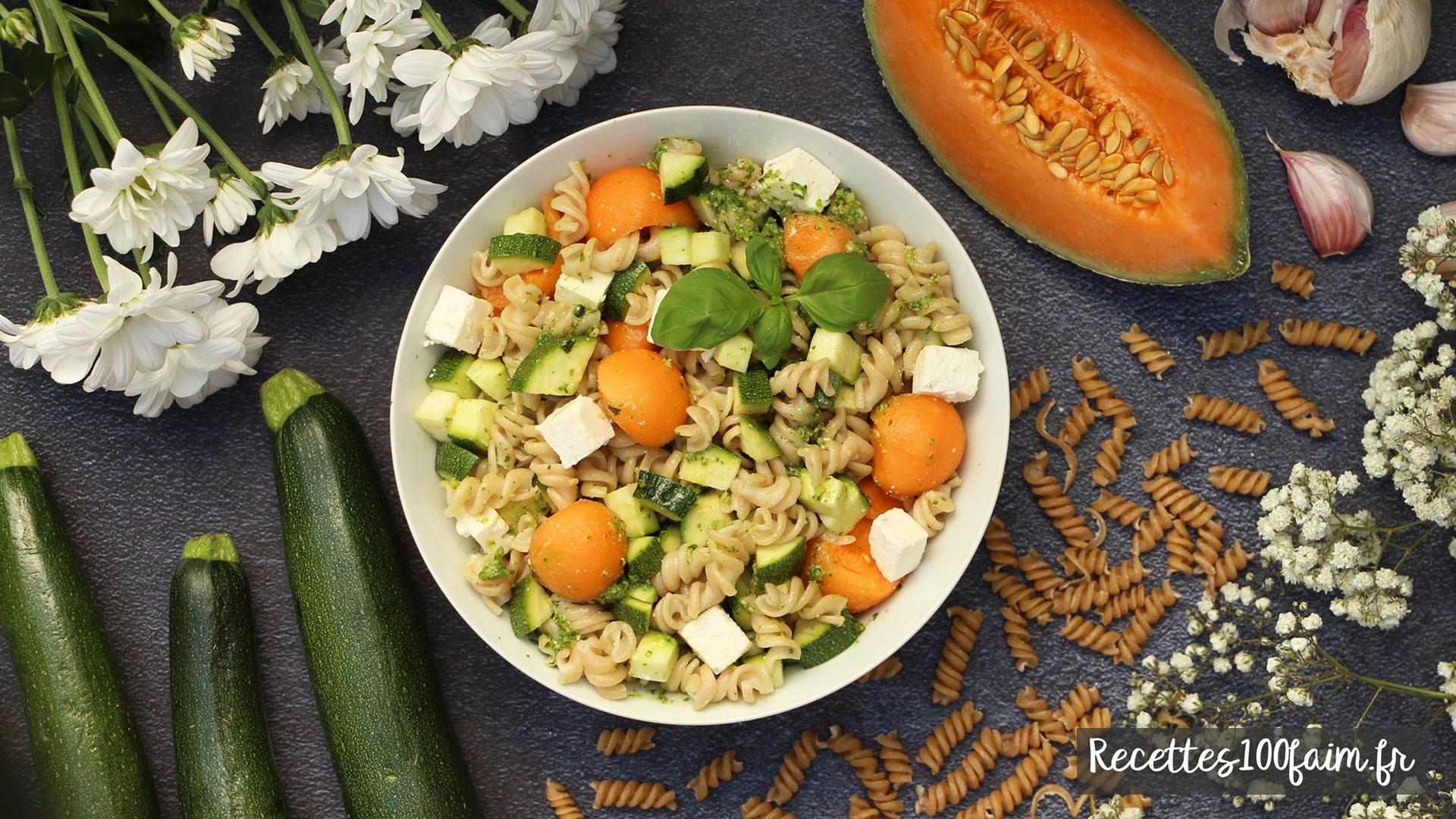recette salade pates melon courgette pesto