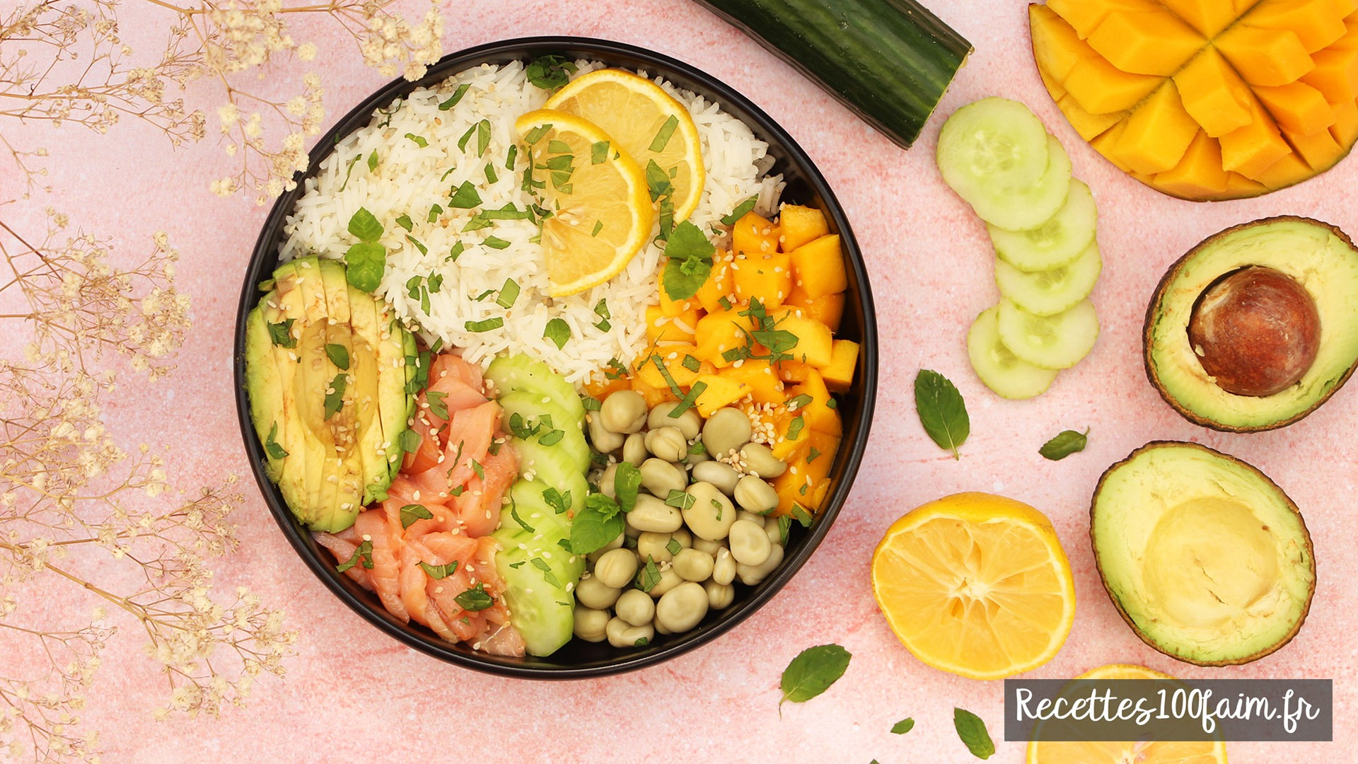 poke bowl saumon avocat mangue