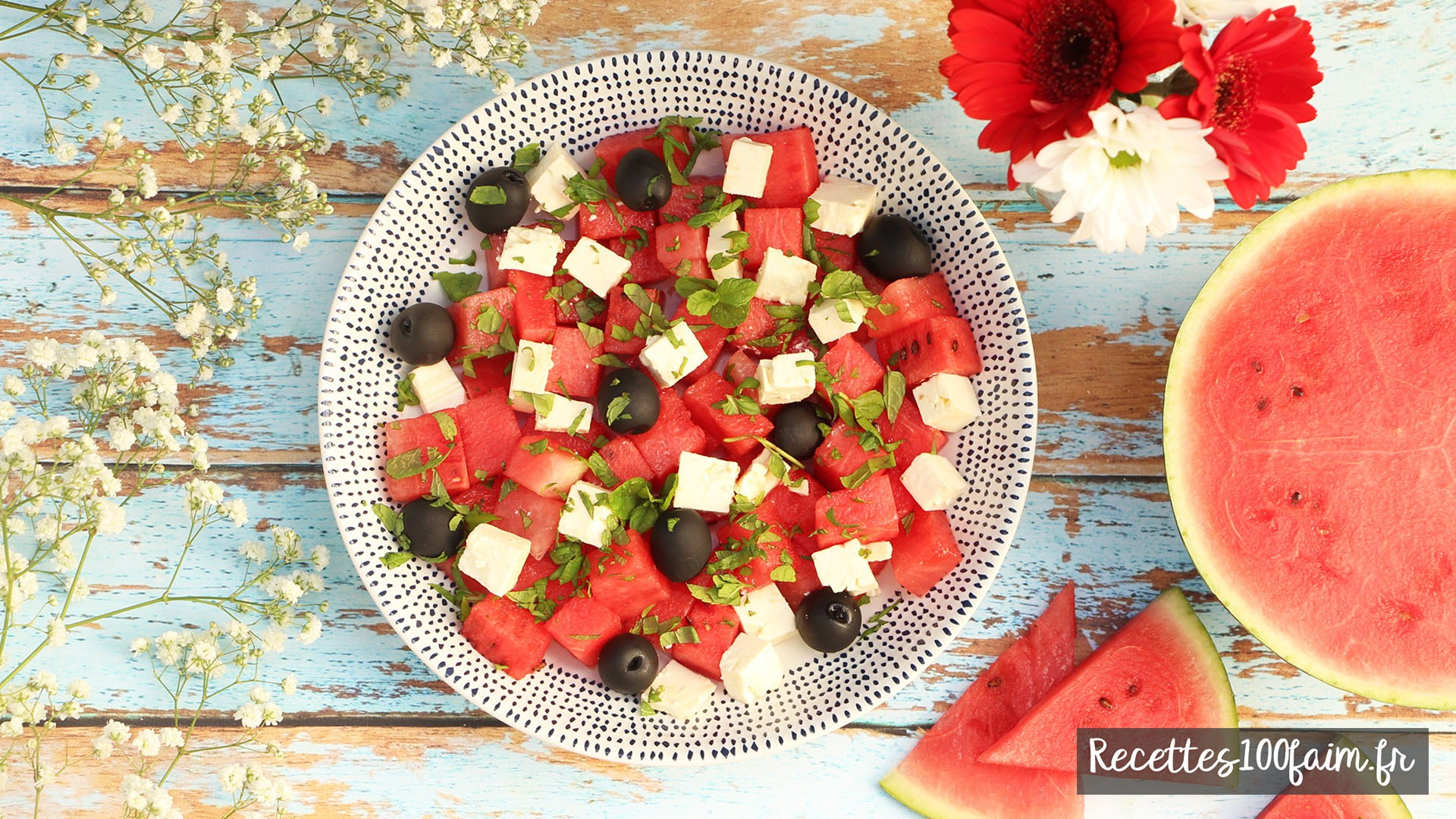 recette salade pasteque feta olive